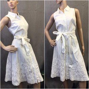 Dreamy white button up collar dress